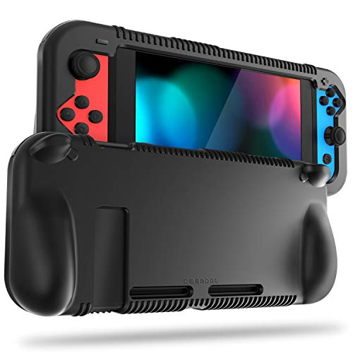 FINTIE Silicone Case for Nintendo Switch - Soft [Anti-Slip] [Shock Proof] Protective Cover with Ergonomic Grip Design, Drop Protection Comfort Grip Case for Nintendo Switch Console & Joy-Con (Black)