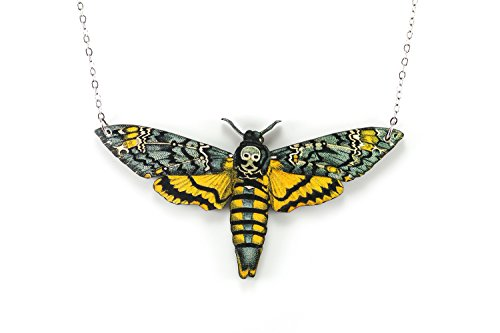 Yellow Death Head Moth Laser Cut Wooden Necklace on 18