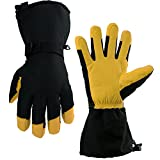 OZERO Waterproof Gloves, -40°F Cold Proof Winter Ski Glove - 150g 3M Thinsulate Insulated Cotton & 5-inch Long Sleeve - Waterproof Nylon & Cowhide Leather Palm & Good Grip for Men & Women - Yellow/XXL