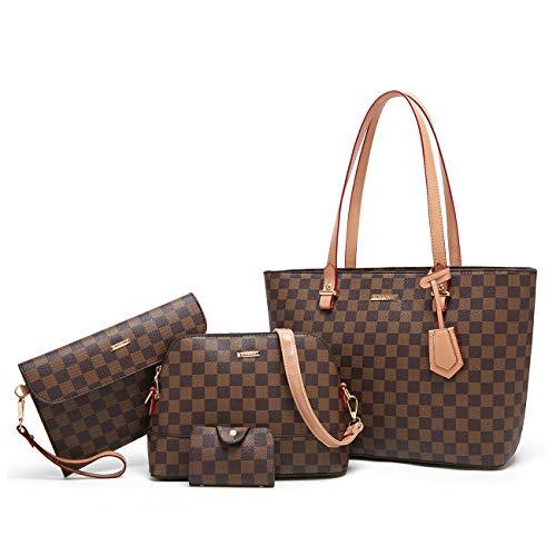 Logooo Women Fashion Synthetic Leather Handbags+Shoulder Bag+Purse+Card Holder 4pcs Set Tote
