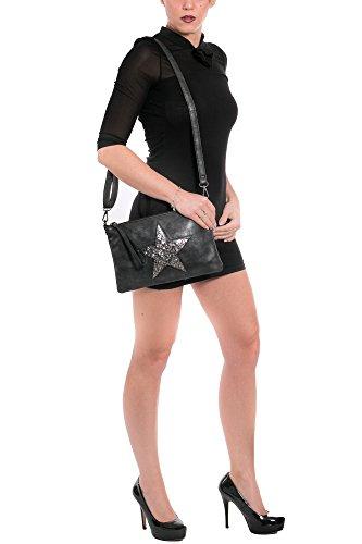 out tpusgk avec métallique étoile paillettes 02 cut Gris Gadzo Petit Sac Sac bandoulière bandoulière vintage LOOK Femmes en wxnqZXfz