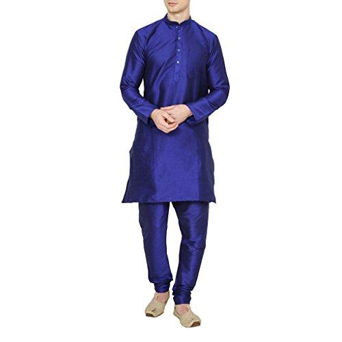 Royal Kurta Men's Occassional Silk Blend Kurta Churidar Set 40 Blue