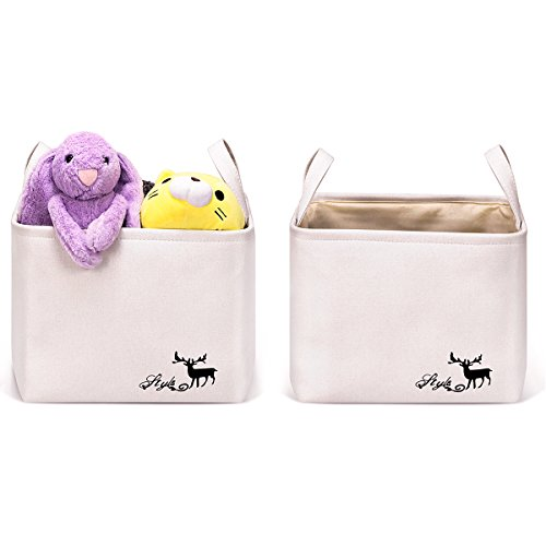 WISHPOOL Collapsible Storage Bin Baskets 2 Pack Foldable Canvas Toys Storage Cube Bin Set with Handles for Home Laundry Closet by WISHPOOL