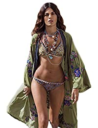 X-xyA Bordado De Mujer Kimono Cardigan Vestido Largo BañAdor Playa Bikini Cover Up,Green,OneSize