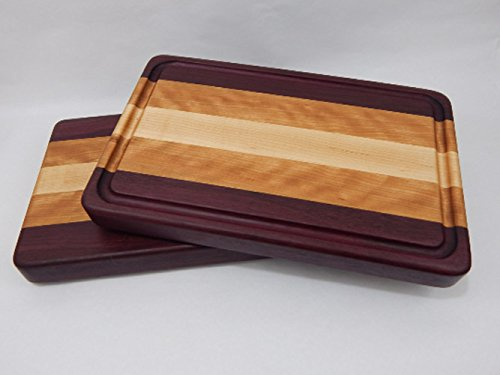 Handcrafted Wood Cutting Board - Edge Grain - Purpleheart, Cherry and Maple No slip bottom and easy grips. Optional juice groove.