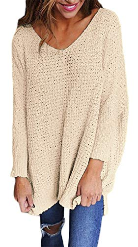 ETCYY Women's Long Sleeve Blouse Casual V Neck Knit Loose Pullover Sweater Tops by ETCYY