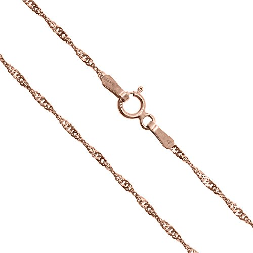 14K Solid Rose Gold 1.5mm Singapore Twisted Curb Chain - 20 Inches
