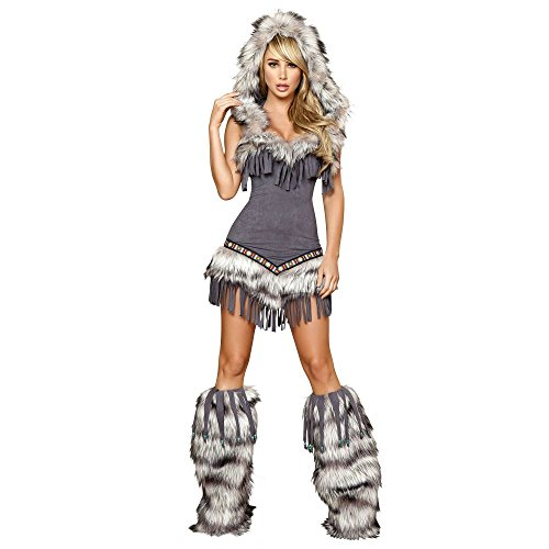 Temptress Indian Costumes (Roma Costume 1 Piece Native American Temptress, Grey, Small)
