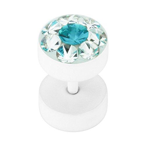 Stahl - Fake Plug - Epoxykristall - SWAROVSKI - Supernova Concept - Blue Zircon (BZ) (Fake Flesh Tunnel Cheater Plug Piercingschmuck Ohrringe für Damen und Herren)