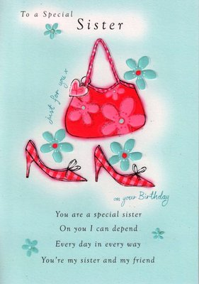Second Nature Sister Birthday Cards Poetry In Motion Glitter Greeting Card Special Verse