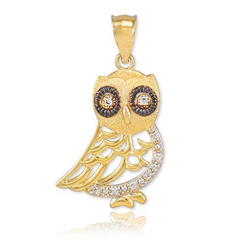 Animal Kingdom pour femme fine Or 14K bicolore Diamant Hibou Charm pendentif