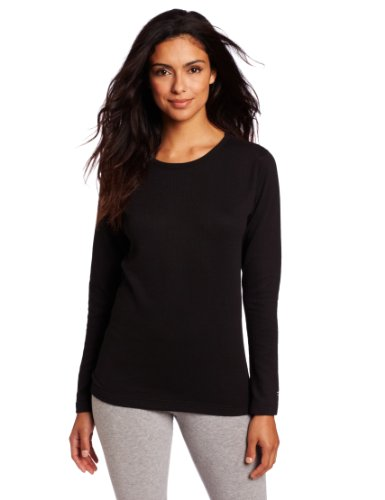 Duofold Women's Mid Weight Wicking Thermal Shirt, Black, Small (Detail Thermal)