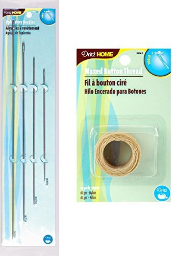 Dritz 4 Pack Upholstery Needles + Dritz Waxed Button Thread (Natural - 20 Yards) -- Complete Upholstery Sewing Kit