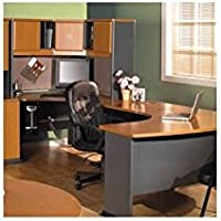 Bush Furniture Natural Cherry and Slate Advantage Series U-Shape Computer Desk with Hutch