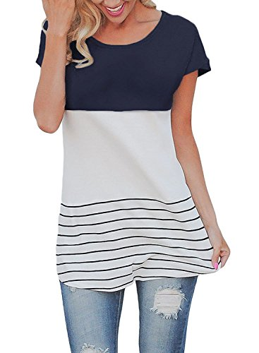 Chvity Women's Back Lace Tops Color Block Short Sleeve T-shirt Tunics Blouse (L, Navy Blue)