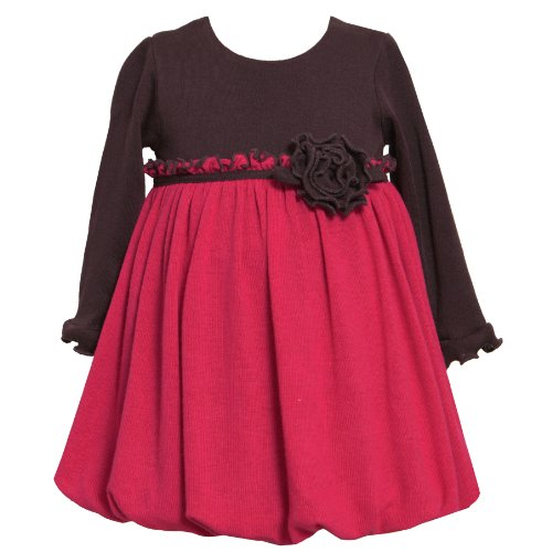 Bonnie Jean Baby 12M-24M Fuchsia-Pink Brown Colorblock Knit Bubble Dress