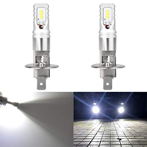 H1 Headlight Light Bulbs - KaTur Extremenly Bright TOP Advanced CSP Philips LED Chips Car H1 Daytime Running DRL Led Bulbs or Fog Lights - 6500K Xenon White 1600LM Waterproof IP68 80W - 3 Yr Warranty