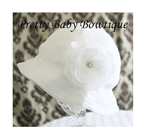 Baby Sun Hat with Removable Flower Clip - Baby Easter Bonnet (Hat with Small White Flower)