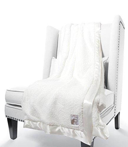 Little Giraffe Chenille Throw Blanket, White Signature Plush Receiving Blanket
