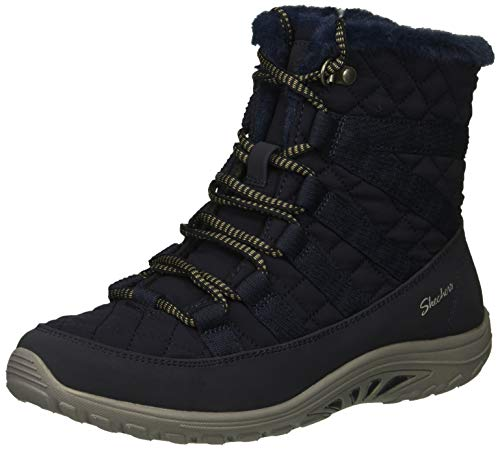 (Skechers Women's Reggae Fest-Moro Rock-Short Quilted Lace Up Bootie Ankle Boot, Navy, 7 M US)