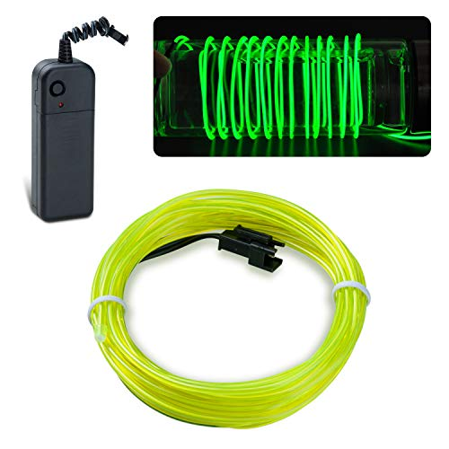 lychee EL Wire Neon Glowing Strobing Electroluminescent Light El Wire w/Battery Pack for Parties, Halloween Decoration (Green, 9ft) -