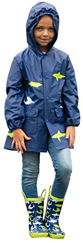 [P1001-Blue-S] Boys Raincoat: Waterproof Jacket, Hood Shark Print Toddler 2-4
