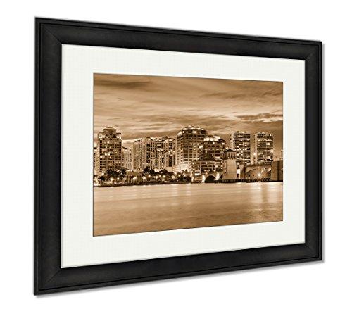 Ashley Framed Prints West Palm Beach Florida USA Downtown Skyline Travel Architecture City, Wall Art Home Decoration, Sepia, 26x30 (frame size), Black Frame, - City Palm West Fl Place Beach