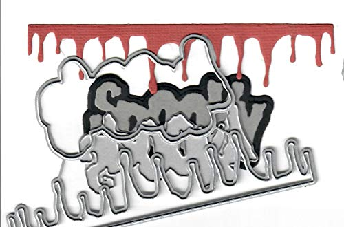 Dies to die for Metal Craft Cutting die - Spooky Word & Blood Drips Border - Halloween Fun
