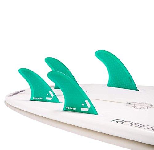 Dorsal Surfboard Fins Hexcore Quad Set (4) Honeycomb FUT Base Green by Dorsal