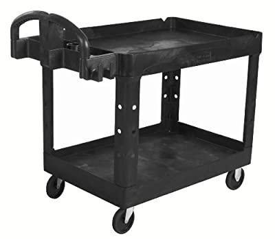 Rubbermaid Commercial 1867535 Executive Series Heavy-Duty 2-Shelf Utility Cart with Quiet Casters