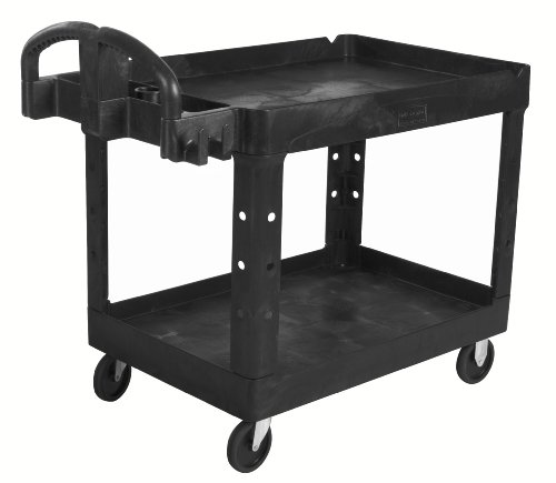 (Rubbermaid Commercial Executive Series Heavy-Duty 2-Shelf Utility Cart with Quiet Casters, 500 lb capacity, Black (1867535))