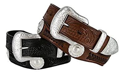 Cinquefoil- Mens Western Embossed Genuine Cowhide Leather Concho Scalloped Belt