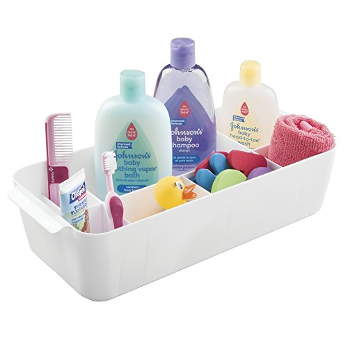Nursery Wipes Box (mDesign Baby Nursery Organizer Storage Tote for Shampoo, Wipes, Powder, Burp Cloths, Rattles - Large, White)