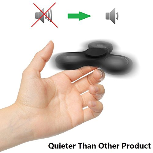 Fidget Spinner Toy Ultra Durable and Quiet High Speed Ceramic Bearing – Perfect for ADD, ADHD, Anxiety, and Autism Adult Children (Black)