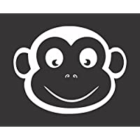 "Barking Sand Designs Monkey Head Cartoon - Die Cut Vinyl Window Decal/Sticker Car/Truck 4.5""x3.5"""