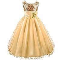Acecharming Wedding Flower Girls Dress, Sequin Sleeveless Lace Dress for 3-12 Years Old Girls Golden
