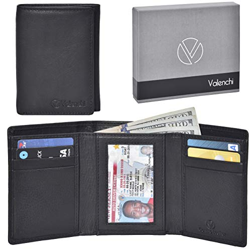 Valenchi - Genuine Leather RFID Wallets for Men and Women with multi card slots, 2 Note pocket coin pocket and ID window (Black Nappa) (Best Leather Trifold Wallet)