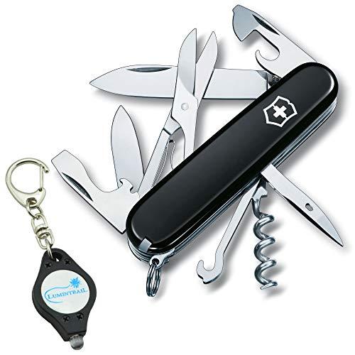 Fob Key Victorinox Army Swiss - Victorinox Swiss Army Climber Pocket Knife Multitool 14 Functions Bundle with a Lumintrail Keychain Light (Black)