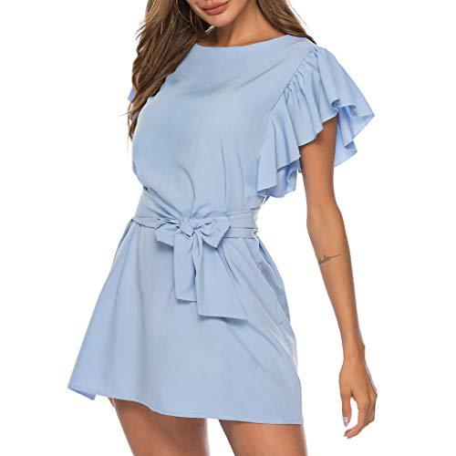 Women's V Neck Ruffle Pure Color Pocket Edge Loose Swing Casual Short T-Shirt Dress Sleeveless Bandage Dress Light Blue