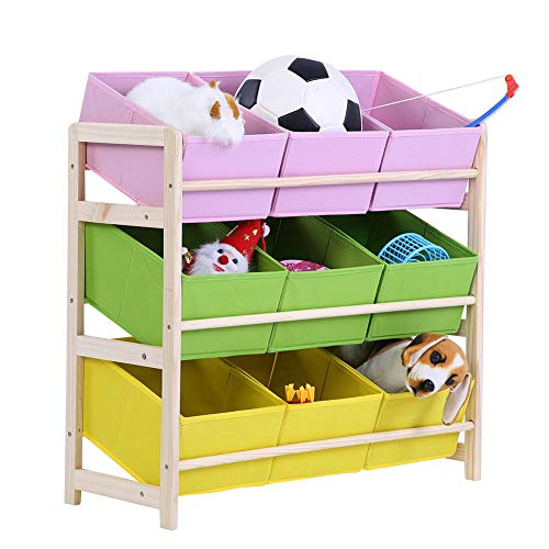 Toy Storage Organizer Rack, 3 Tier Wooden Toy Shelf Holder with 9 Fabric Boxes Cases Bins