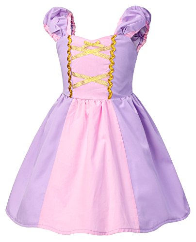 HenzWorld Rapunzel Dress Princess Costume Baby Girls Party Outfit Toddler Purple -