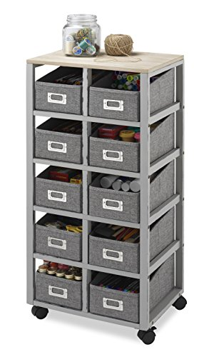 Whitmor Multipurpose Storage Cart with 10 Removable Bins, Weathered Gray Natural