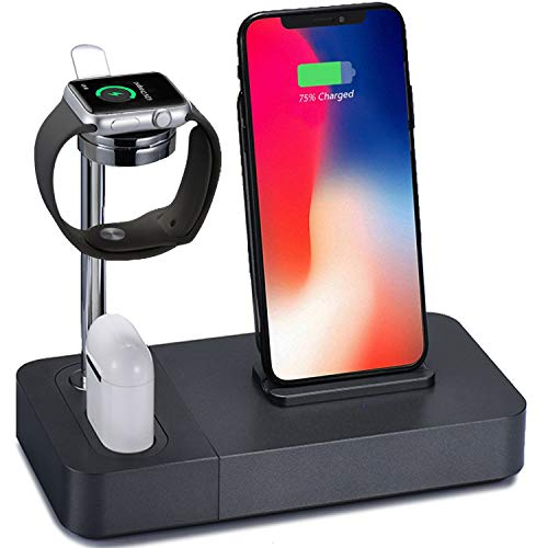 Wireless Charger Stand, 3in1 Aluminum Charging Watch Holder Docks with UL Certified 2A Adapter Compatible iPhone X/XS Max/8Plus/Samsung Galaxy S9 Plus, Compatible Apple Watch/Airpods ()