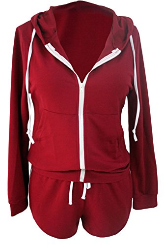 Wein & Weiß Hoodie & Shorts Set Casual Wear Sport Wear Club tragen Größe S UK 8�?0EU 36�?8