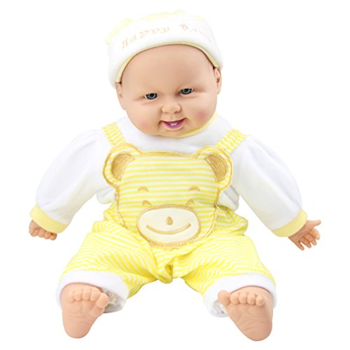 Meiyie 20-inch Soft Body Baby Doll Smile Cuddle Play Doll,in Yellow Stripe Overall
