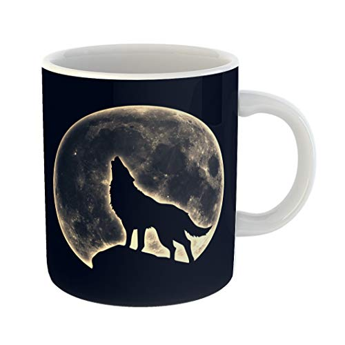 Emvency Coffee Tea Mug Gift 11 Ounces Funny Ceramic Wicca Howling Wolf Full Moon Werewolf Native Gifts For Family Friends Coworkers Boss -