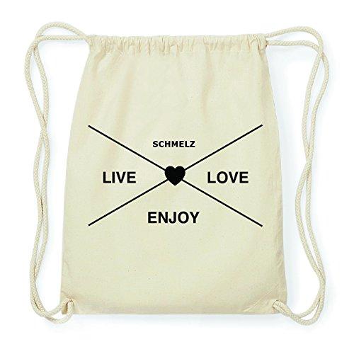 JOllify SCHMELZ Hipster Turnbeutel Tasche Rucksack aus Baumwolle - Farbe: natur Design: Hipster Kreuz