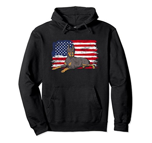 Unisex Doberman Pinscher USA Flag Hoodie Sweatshirt 2XL Black - Pinscher Adult Hoody Sweatshirt