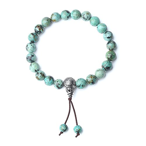 COAI Vintage Guru 925 Sterling Silver Bead Turquoise Stones Mala Blessing (Sterling Turquoise Vintage Bracelets)