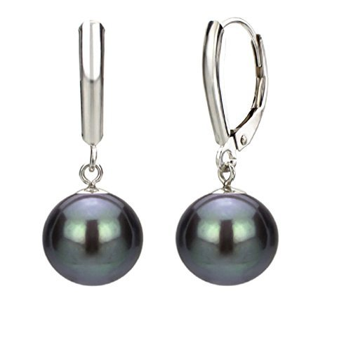 14k White Gold Round Dyed-black Cultured Freshwater Pearl (8-8.5mm) High Luster Leverback Earring by Pearlyta